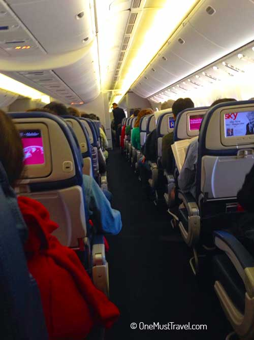 view of inside of airplane on a long haul international flight that I survived.