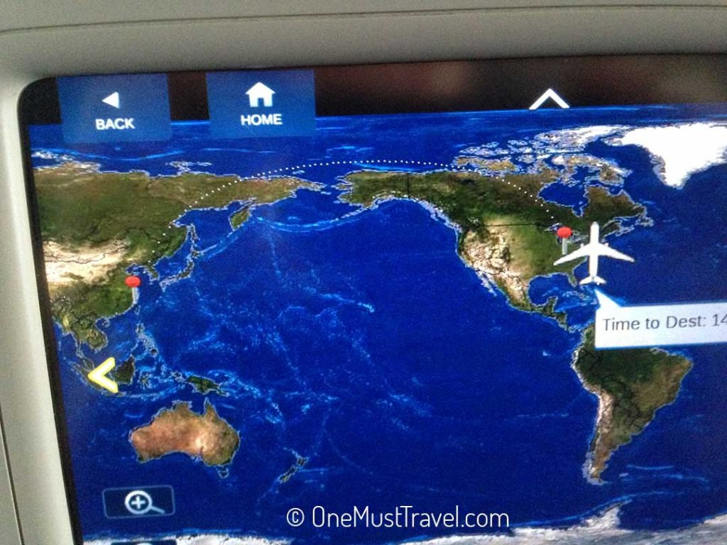 The in-seat view of the route that we were going to be flying on my long haul international flight to china.