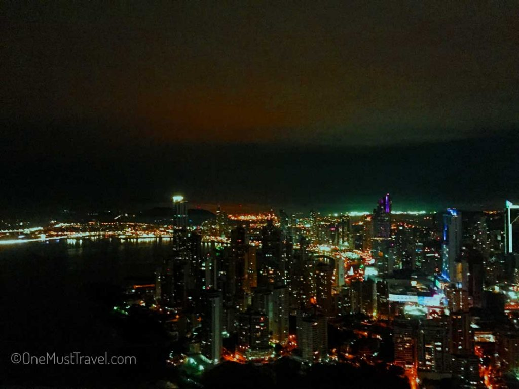 The view of Panama City from the Trump Tower just after sunset.