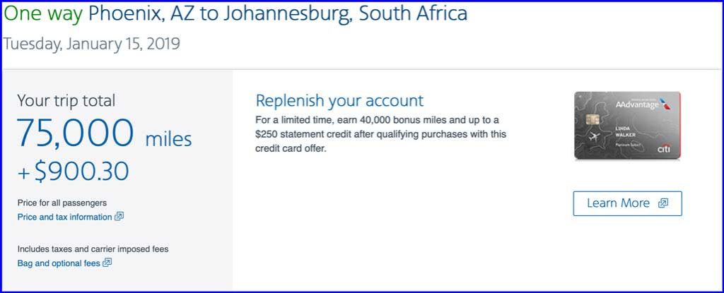 A screen shot showing that it would cost $900 to book an award ticket on British Airways to Africa using AA miles.