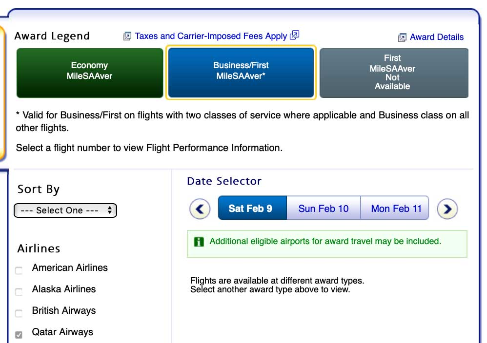 Screen shot showing that there is no availability in business class (J) on Qatar on the selected date.