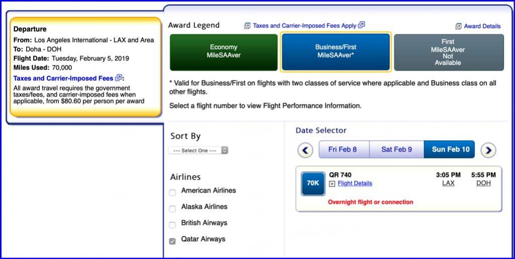 A screen shot showing Qatar Airways Business Class award on AA.com